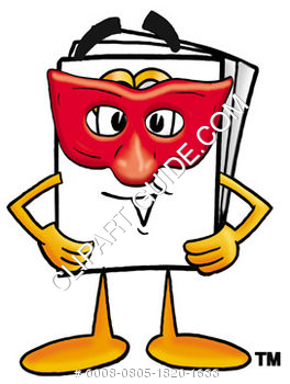 Cartoon Paper Character Wearing A Mask
