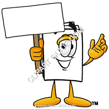 Cartoon Paper Character Holding A Sign