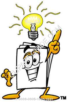 Cartoon Paper Character With A Bright Idea