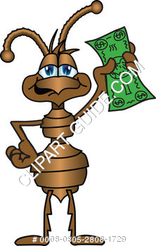 Cartoon Ant Holding Money