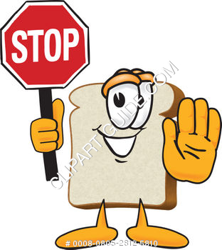 Cartoon Clipart Bread Holding Stop Sign