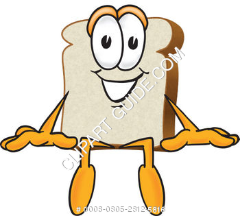 Cartoon Clipart Bread Sitting Down