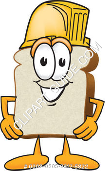 Cartoon Clipart Bread Wearing Hardhat