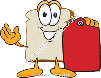 Cartoon Clipart Bread Holding Tag