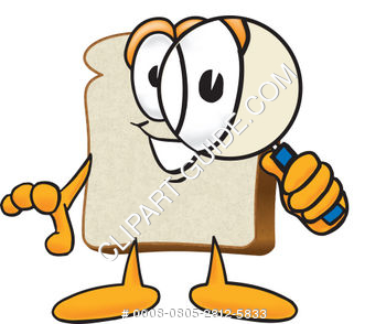 Cartoon Clipart Bread With Magnifying Glass