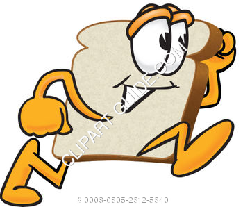 Cartoon Clipart Bread Running