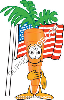 Cartoon Clipart Carrot With American Flag