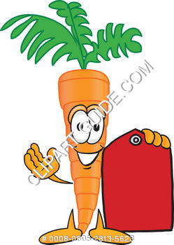 Cartoon Clipart Carrot Holding Tag