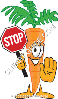 Cartoon Clipart Carrot Holding Stop Sign