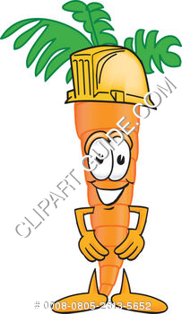 Cartoon Clipart Carrot Wearing Hardhat