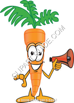 Cartoon Clipart Carrot Holding Megaphone