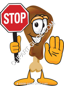 Cartoon Chicken Leg Holding Stop Sign
