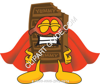 Cartoon Chocolate Bar Super Hero