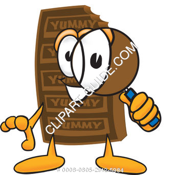 Cartoon Chocolate Bar With Magnifying Glass