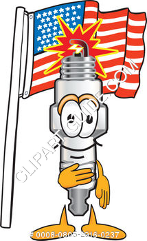 Cartoon Spark Plug With American Flag