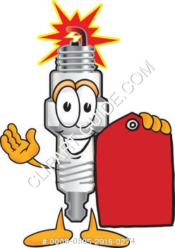 Cartoon Spark Plug With Tag
