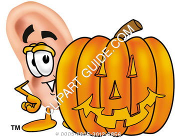 Cartoon Ear With Halloween Pumpkin