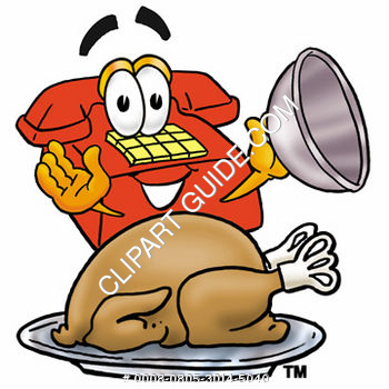 Cartoon Phone With Thanksgiving Turkey