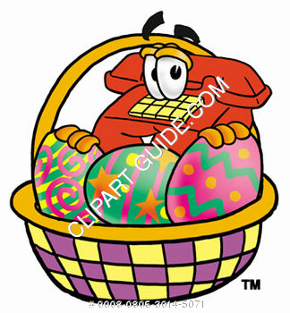 Cartoon Phone In Easter Basket