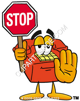 Cartoon Phone Holding Stop Sign