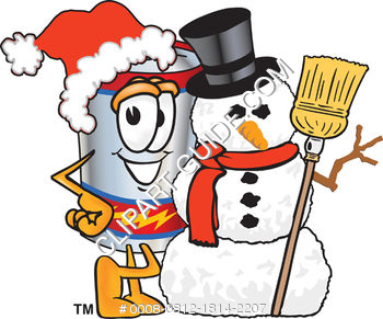 Clip Art Cartoon Illustration of Battery with Snowman