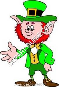 Cartoon Clipart Image of a Smiling Leprechaun