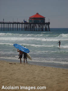 Stock Photo of Surfers on the Beach in Huntington Beach