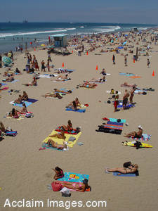 Stock Photo of People on the Beach in Huntington Beach, California