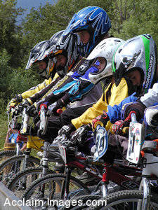 Stock Photography of Boys On BMX Bikes Getting Ready To Race