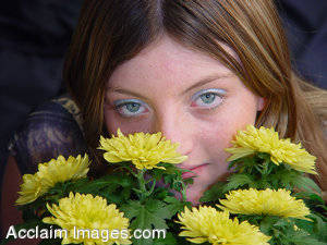 Picture of a Girl Behind Flowers