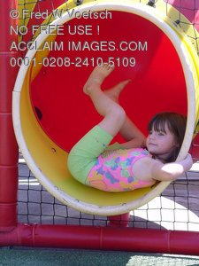 Stock Photo Clipart of Girl On Playground