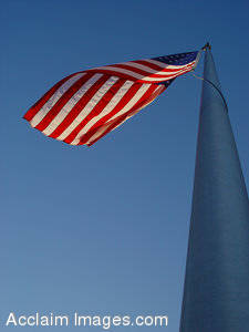 Stock Image of a United States Flag From Below