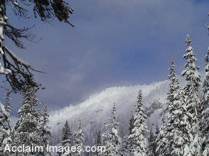Stock Photo of Snow Covered Mountains at Crater Lake