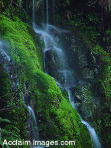 Stock Photo of a Small Waterfall Near the Smith River, Northern California