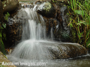 Stock Clipart Photo of a Waterfall Pouring Into a Stream in Iao Valley Hawaii