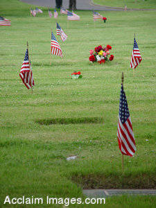 Photo of Memorial Day - Cemetery with American Flags and Flowers