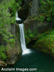 Stock Photo of the a Waterfall at Toketee Falls, Oregon