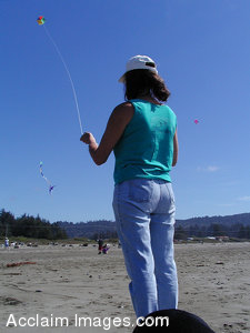 Royalty Free Clipart Photo of a Person Flying a Kite