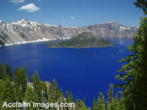 Stock Photo of Crater Lakes Blue Water