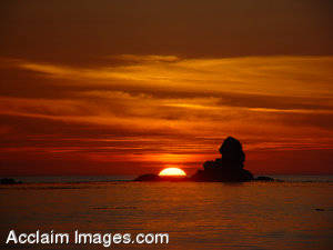 Stock Picture of A Sunset in Cresent City, California