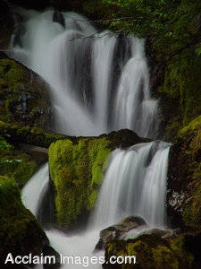 Stock Photo of a Draping Waterfall in Southern Oregon