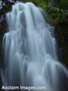 Stock Photo of a Large Cascading Waterfall in Southern Oregon