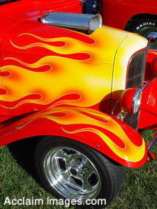 Stock Photo of  Flame Paint on a Vintage Truck