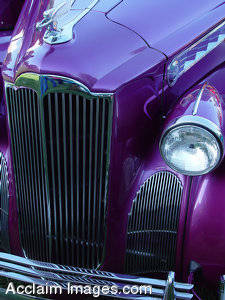 Stock Photo of a Classic Car, Purple