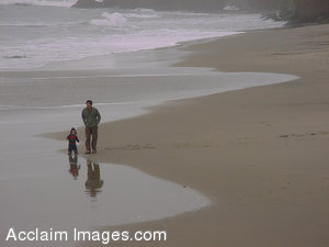 Stock Clipart Photo of a Man and Little Boy on the Beach