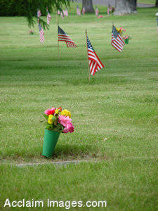 Pictures of Memorial Day - Cemetery with Flowers and American Flags