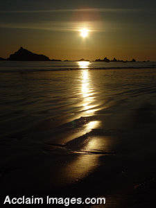 Stock Picture of An Ocean Sunset, Pebble Beach, Cresent City, CA