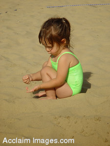 Stock Clipart Photograph of a Little Girl Playing at the Beach