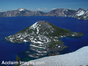 Stock Photo of Crater Lake and Wizard Island