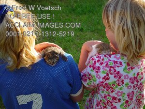 Photos, Photographs and Pictures of Children With Kittens